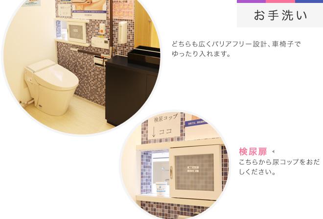 【お手洗い】どちらも広くバリアフリー設計、車椅子でゆったり入れます。[検尿扉]こちらから尿コップをおだしください。